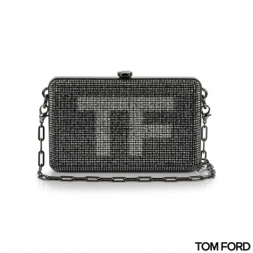 Tom Ford  Crystal-Embellished Mini Silver Suede Clutch Bag